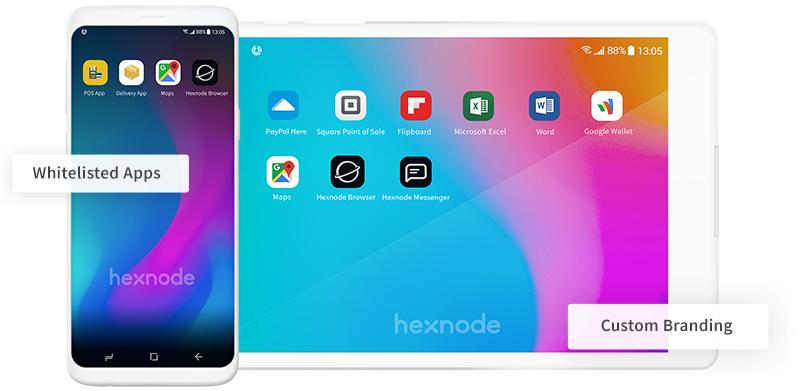 Hexnode android tablet kiosk mode whitelisted apps